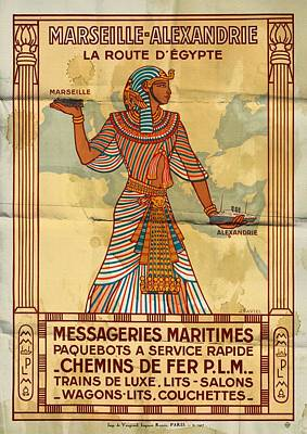 Mixed Media - Marseille - Alexandrie La Route D'egypte - Folded by Vintage Advertising Posters