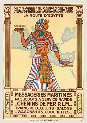 Mixed Media - Marseille - Alexandrie La Route D'egypte - Restored by Vintage Advertising Posters