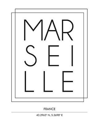 Marseille City Print With Coordinates Art Print