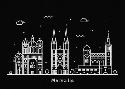 Drawing - Marseille Skyline Travel Poster by Inspirowl Design