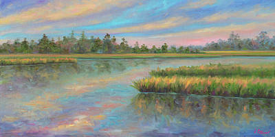 Isle Of Palms Painting - Marsh Glow In The Low Country by Jeff Pittman