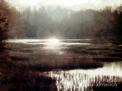 Photograph - Marsh Moods - At The End Of The Day - Horizontal by Janine Riley