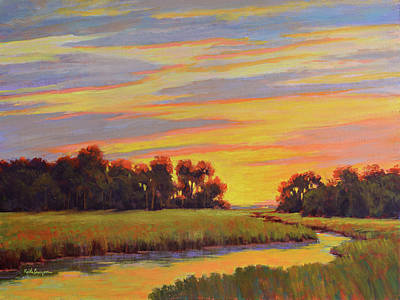 Tidal Creek Painting - Marsh Sunrise by Keith Burgess