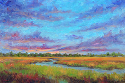 Tidal River Painting - Marsh View From Morris Island - Folly Beach by Jeff Pittman