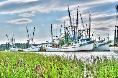 Marsh View Shrimp Boats Art Print by Scott Hansen