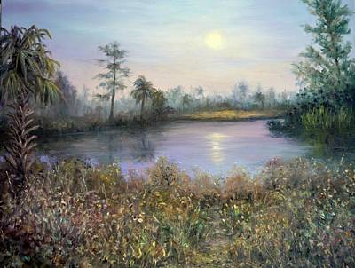 Painting - Marsh Wetland Moon Landscape Painting by Amber Palomares