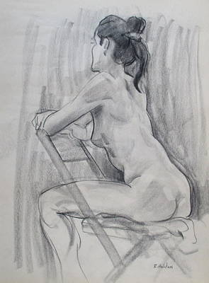 Drawing - Marsha Straddles A Chair by Robert Holden