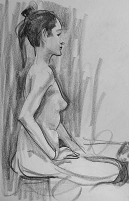 Drawing - Marsha Seated In Profile by Robert Holden