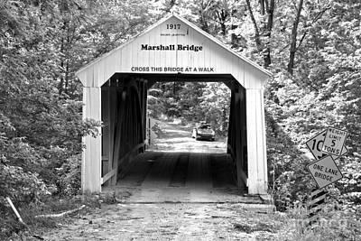 Photograph - Marshall Covered Bridge Black And White by Adam Jewell