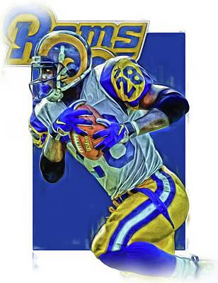 Nfl Mixed Media - Marshall Faulk Los Angeles Rams Oil Art by Joe Hamilton