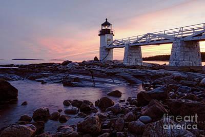 Photograph - Marshall Point Light At Dusk, Port Clyde, Maine  -87441 by John Bald