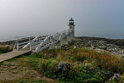 Photograph - Marshall Point Lighthouse In The Fog, Maine by Marilyn Burton