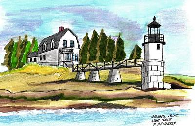 Drawing - Marshall Point Lighthuse by Paul Meinerth