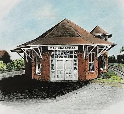 Drawing - Marshallville Depot by Edna Garrett
