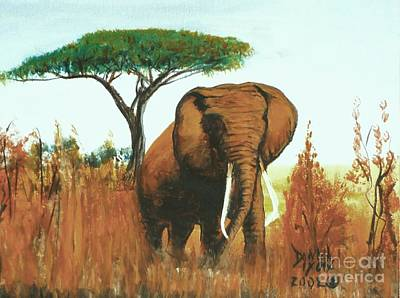 Art Print featuring the painting Marsha's Elephant by Donna Dixon
