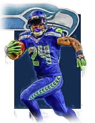 Mixed Media - marshawn lynch SEATTLE SEAHAWKS OIL ART 2 by Joe Hamilton