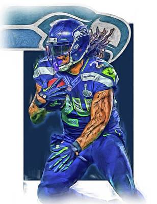 Seattle Mixed Media - marshawn lynch SEATTLE SEAHAWKS OIL ART by Joe Hamilton