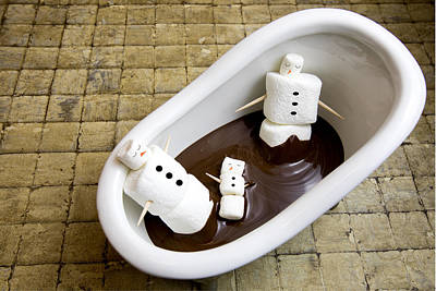 Snowwoman Photograph - Marshmallow Snowman Family In Chocolate Spa by Karen Foley