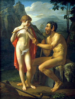 Olympus Painting - Marsyas Teaches Young Olympus Playing The Flute by Pyotr Vasilyevich Basin