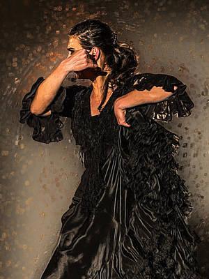 Flamenco Mixed Media - Marta Robles - Black by Elzbieta Petryka