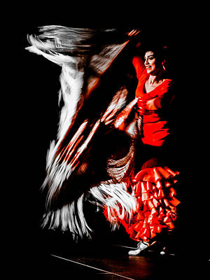 Flamenco Mixed Media - Marta Robles - Motion by Elzbieta Petryka