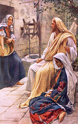 Jesus Christ Drawing - Martha And Mary by Harold Copping