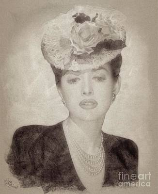 Musicians Drawings Rights Managed Images - Martha Vickers, Vintage Actress Royalty-Free Image by Esoterica Art Agency