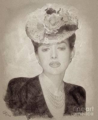 Martha Drawing - Martha Vickers, Vintage Actress by John Springfield