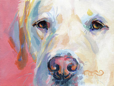 Lab Painting - Martha's Pink Nose by Kimberly Santini