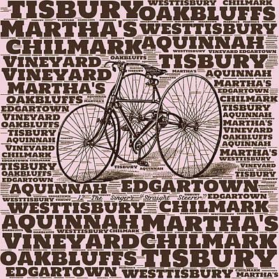Martha's Vineyard Bicycle Red Art Print