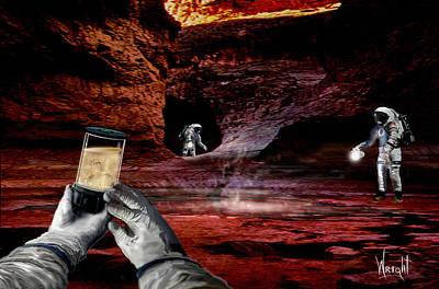 Rocketship Digital Art - Martian Cave Life by Bill Wright