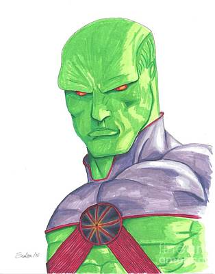 Justice League Drawing - Martian Manhunter by Scarlett Dixon