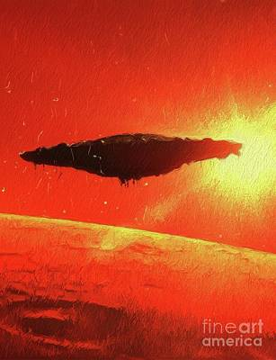 Science Fiction Paintings - Martian Mothership by Raphael Terra