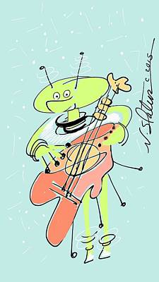 Musicians Royalty Free Images - Martian Musician Royalty-Free Image by Nicole Slater