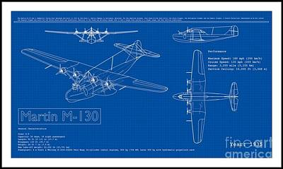 Drawing - Martin 1935 M 130 Seaplane Blueprint by Peter Gumaer Ogden Collection