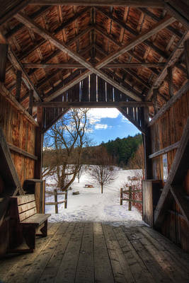 Photograph - Martin Covered Bridge In Winter - Marshfield, Vermont by Joann Vitali