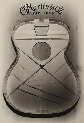 Martin Guitar - No Guts No Glory In Sepia Art Print by Bill Cannon