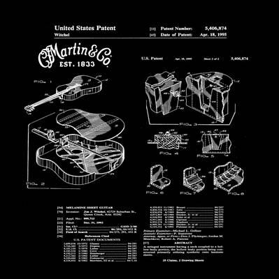 Martin Guitar Patent Dx1 1995 Black Art Print by Bill Cannon