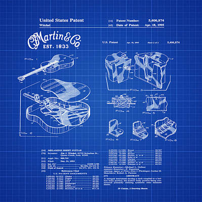 Martin Guitar Patent Dx1 1995 Blue Print Art Print by Bill Cannon