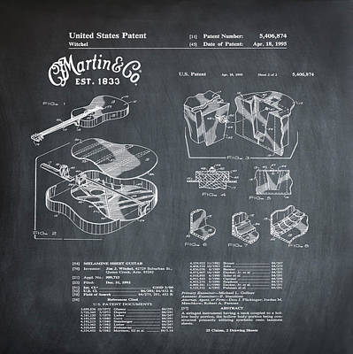 Martin Photograph - Martin Guitar Patent Dx1 1995 Chalk by Bill Cannon