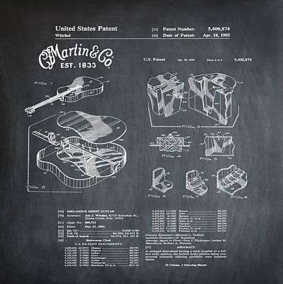 Martin Guitar Patent Dx1 1995 Chalk Art Print by Bill Cannon