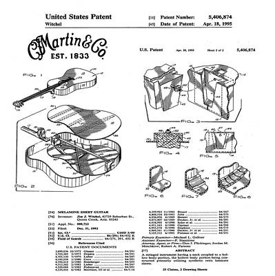 Martin Guitar Patent Dx1 1995 White Art Print by Bill Cannon