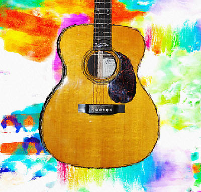 Martin Guitar Watercolor Bg Art Print by Bill Cannon