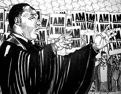 Martin In Progess Print by Malik Seneferu