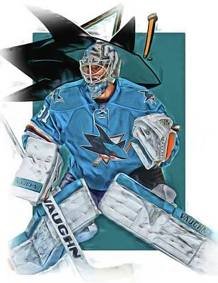 Mixed Media - Martin Jones San Jose Sharks Oil Art by Joe Hamilton