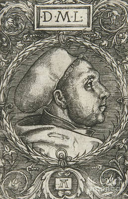 Faces Drawing - Martin Luther, 1521 by Albrecht Altdorfer