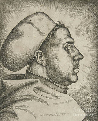Luther Drawing - Martin Luther, 1523  by Daniel Hopfer