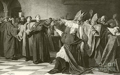 German Drawing - Martin Luther Before The Council Of Worms  by English School