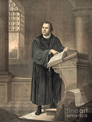Martin Luther In His Study Print by American School