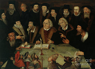 Theologians Painting - Martin Luther In The Circle Of Reformers by German School